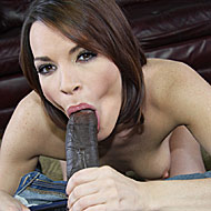 hot brunette Dana DeArmond worshipping an enormous black cock from interracial pickups